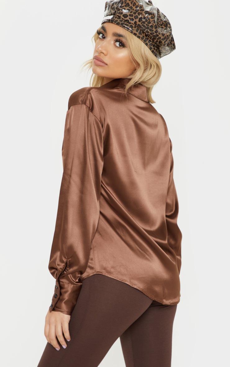 Petite Brown Long Sleeve Satin Shirt 2