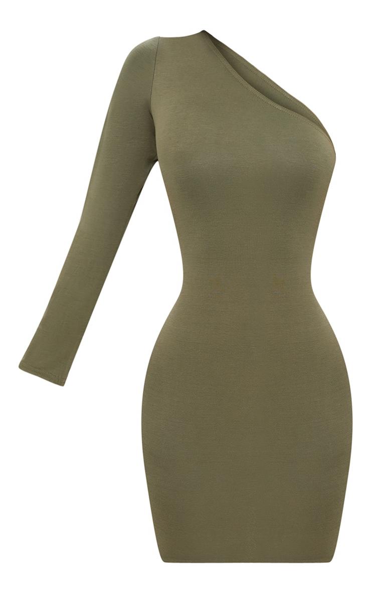 Shape Khaki One Shoulder T Shirt Dress 3