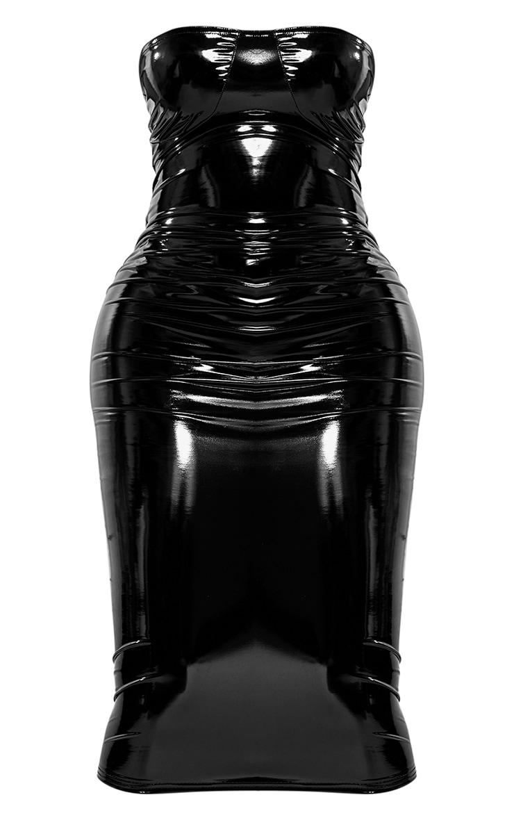 Shape Black Vinyl Cup Detail Midi Dress 6