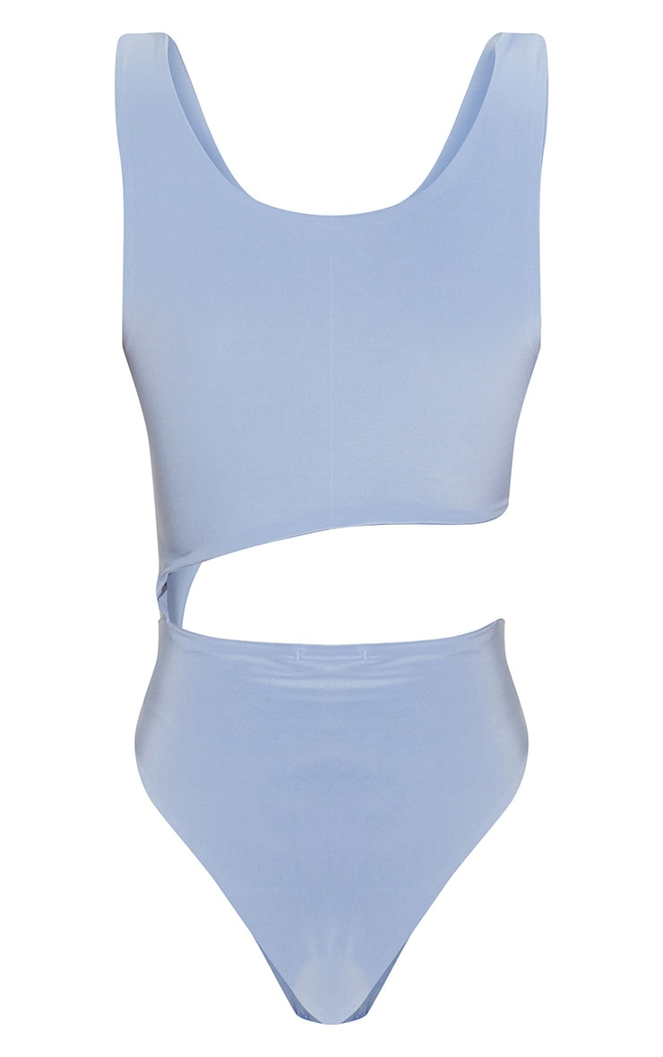 Dusky Blue Cut Out Slinky Thong Bodysuit 4