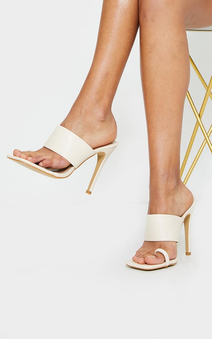 Cream Square Toe Loop High Heel Mules 2