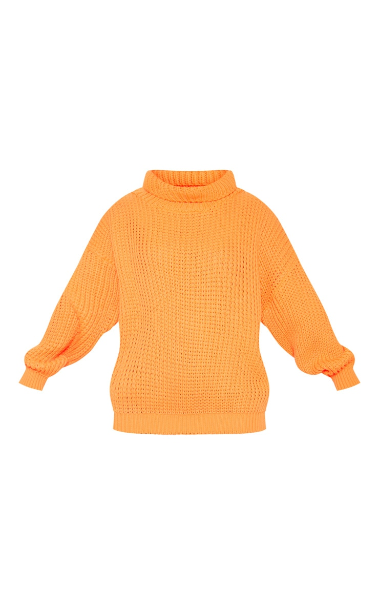 Petite Neon Orange Roll Neck Oversized Chunky Knit Jumper 3