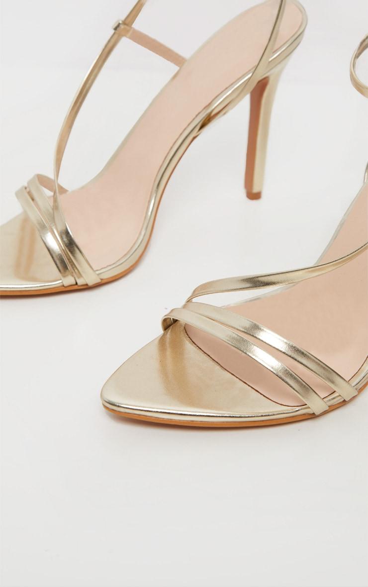 Gold Asymmetric Strappy Sandal 5