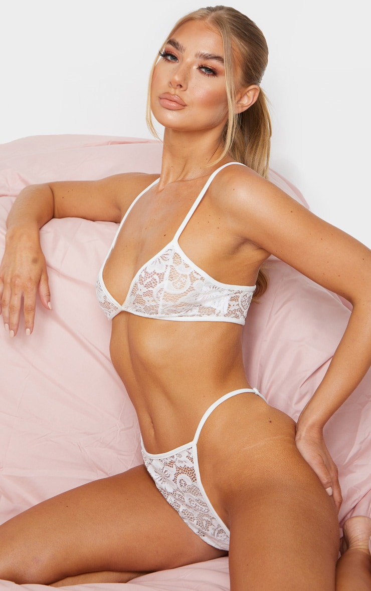 White Basic Lace Lingerie Set 1