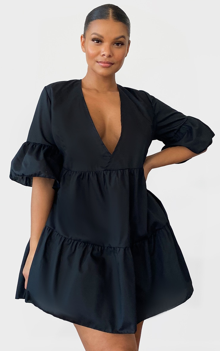Plus Black Woven V Neck Tiered Smock Dress 1