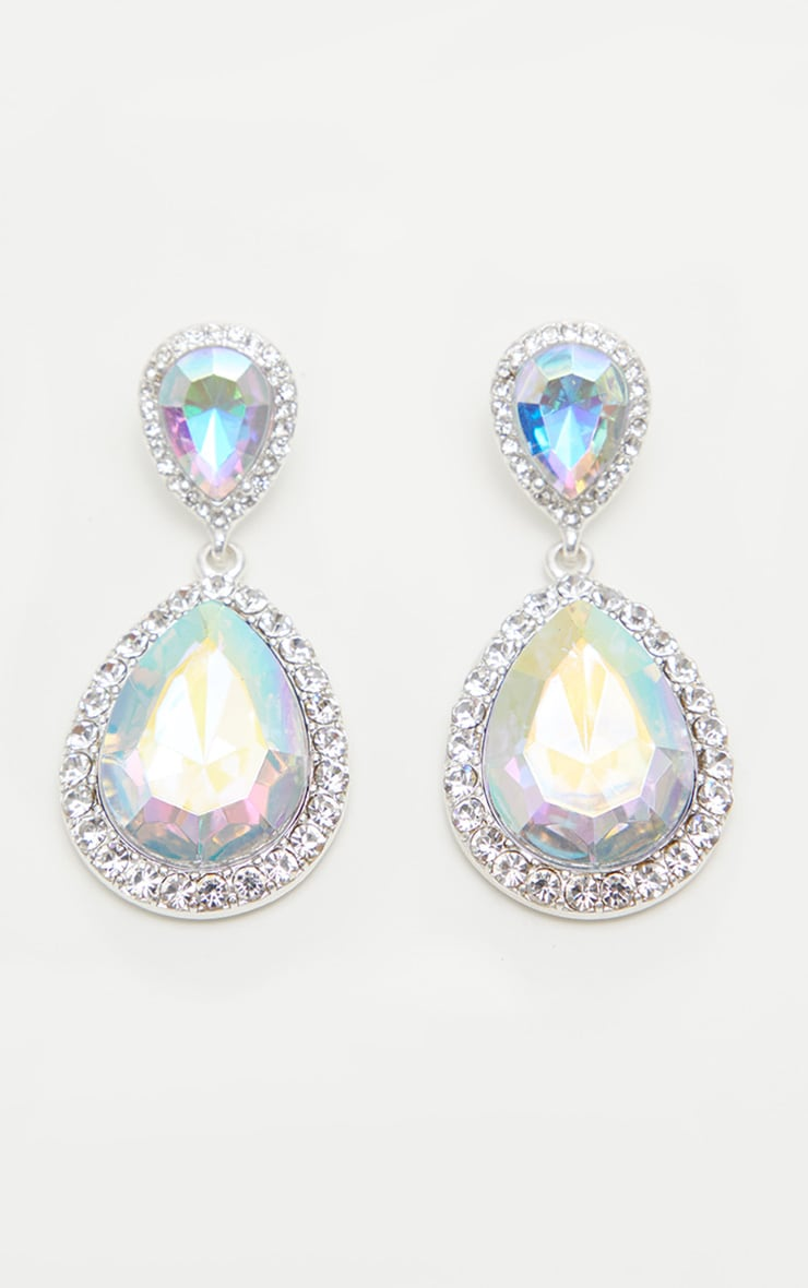 Silver Iridescent Teardrop Jewel With Crystal Border Earrings 2