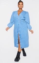 Plus Mid Wash Denim Puff Sleeve Midi Dress 1
