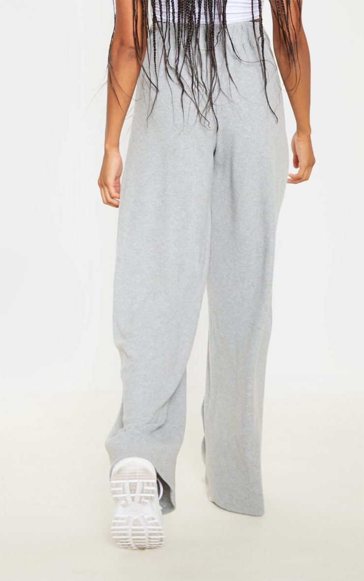 Grey Brushed Rib Wide Leg Pants 4