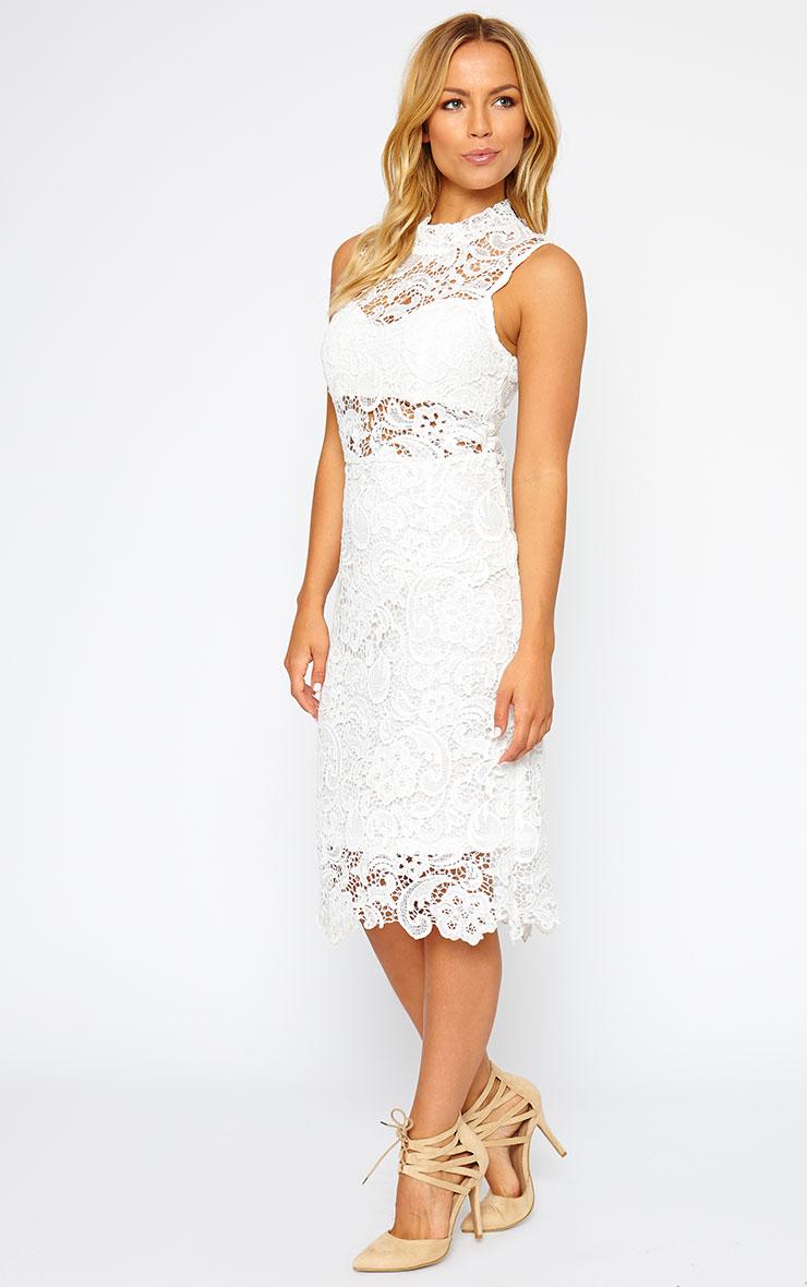 Lena White Lace Midi Dress 4