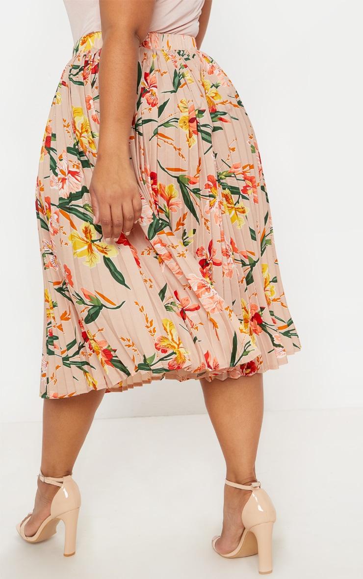 Plus Pink Pleated Midi Skirt 4