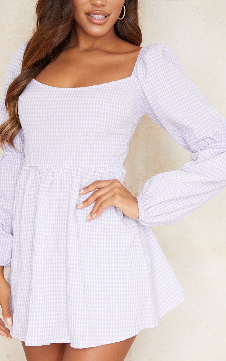Lilac Textured Gingham Balloon Sleeve Shift Dress 4