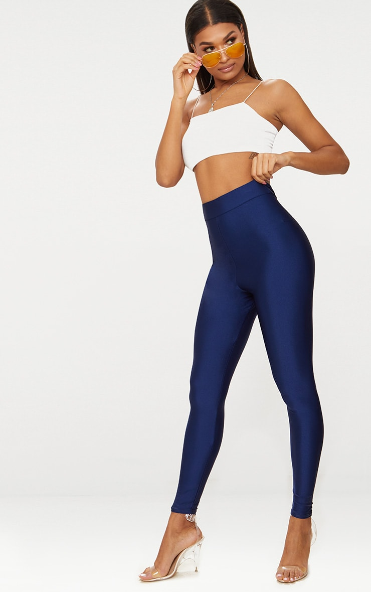 Navy Disco High Waisted Leggings 1