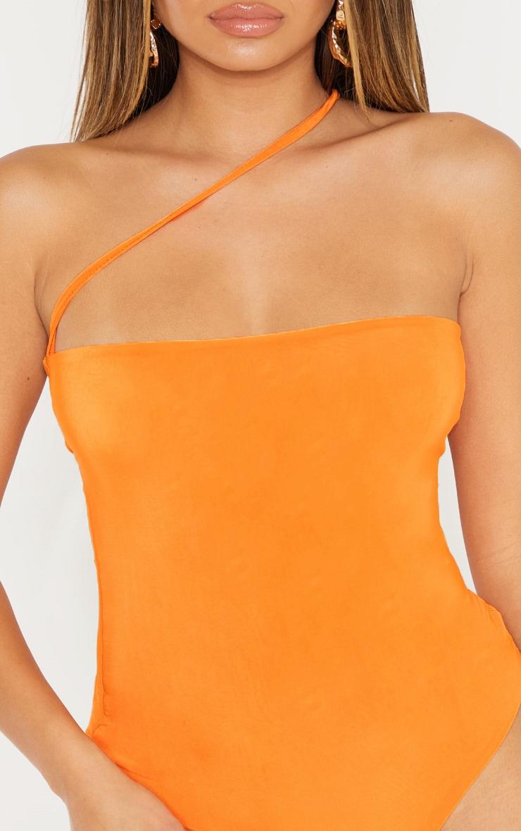 Bright Orange Asymmetric Strap Bandeau Slinky Bodysuit 6