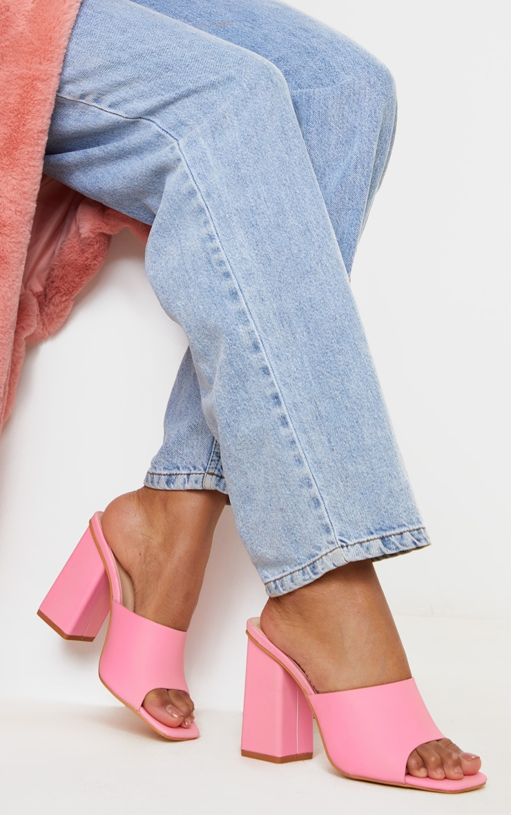 Pink Extreme Reflective Block Heel Mule 1