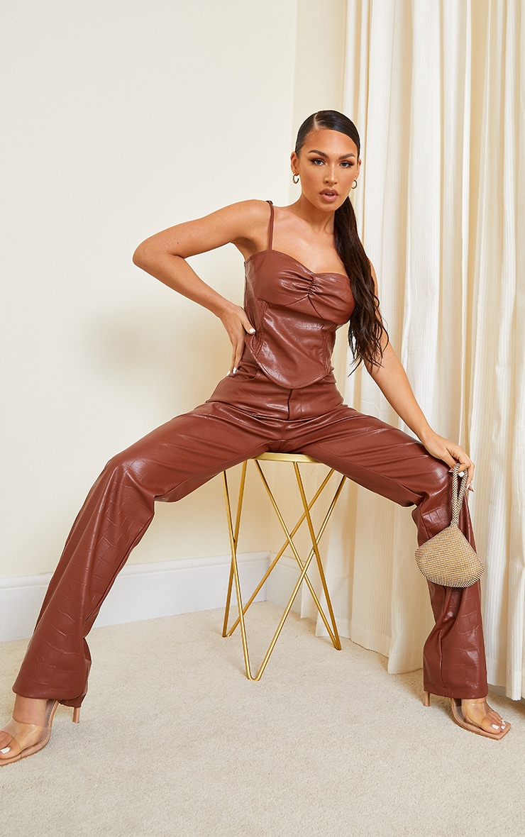 Chocolate Brown Croc Print Faux Leather Cup Detail Strappy Corset Top 3