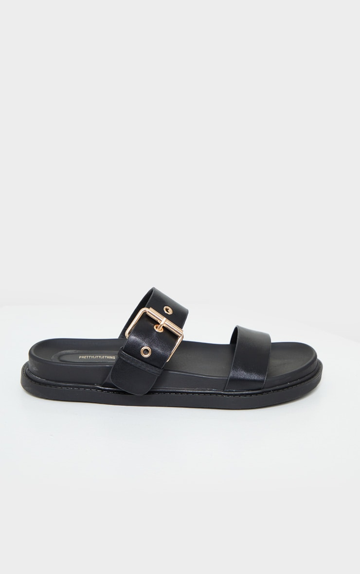 Black Double Strap Sliders 4