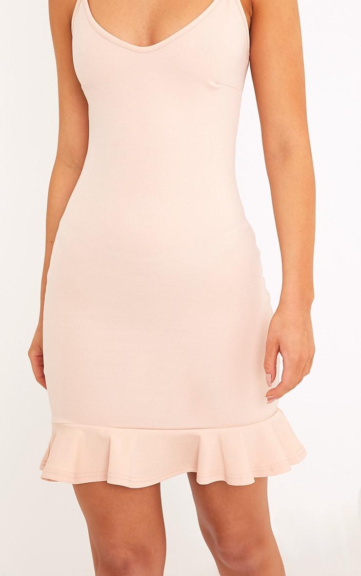 Essie Nude Strappy Frill Hem Bodycon Dress 5