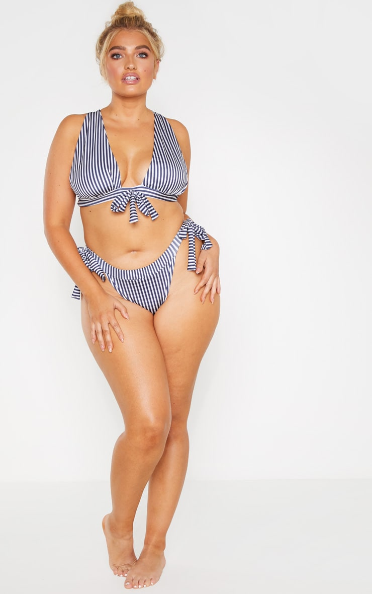 Plus Navy Striped Bow Front Bikini Top  3