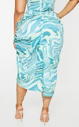 Plus Blue Abstract Print Ruched Side Midi Skirt 3