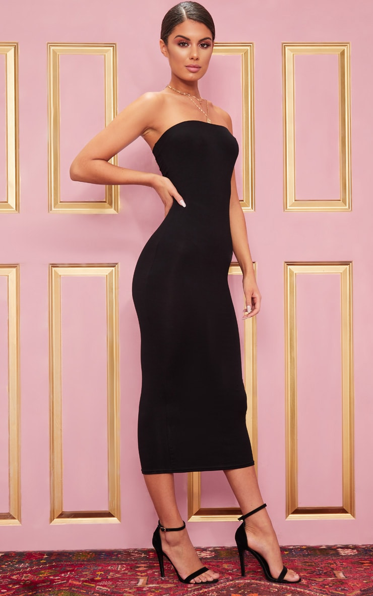 Basic Black Bandeau Midaxi Dress 4