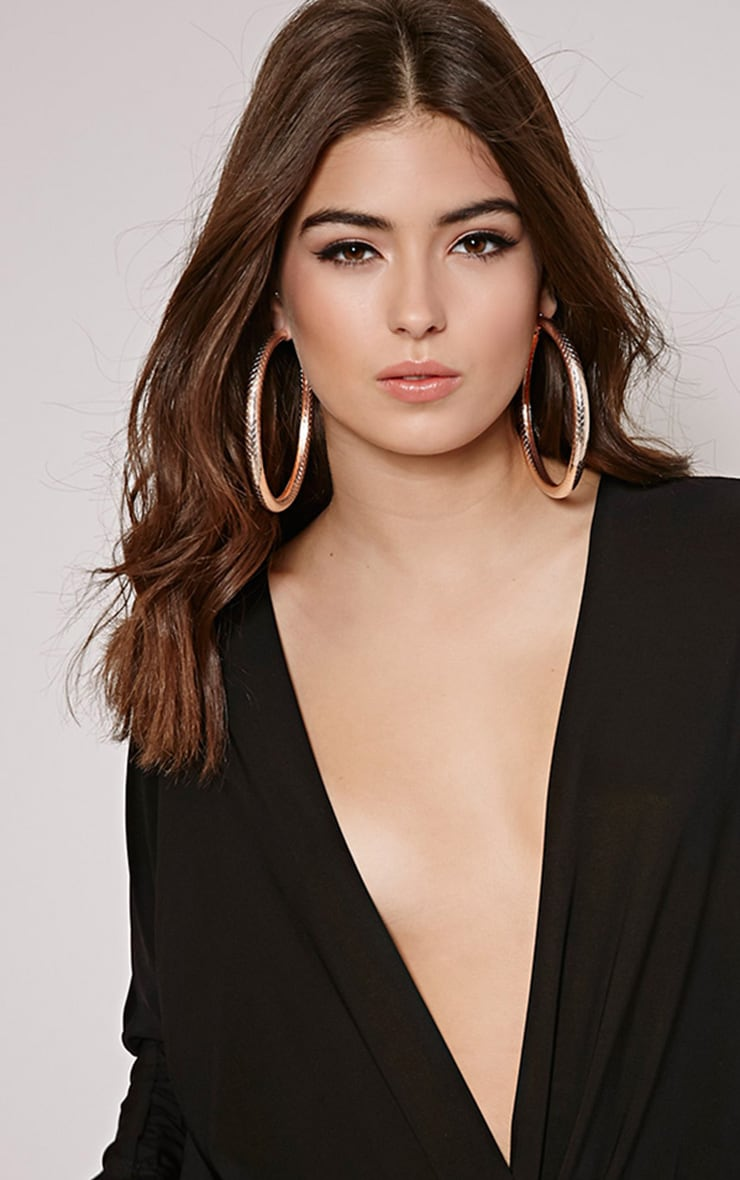 Shirrah Rose Gold Thick Hoops 1