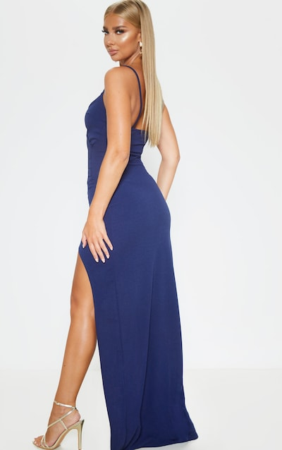 Midnight Blue Wrap Front Crepe Maxi Dress