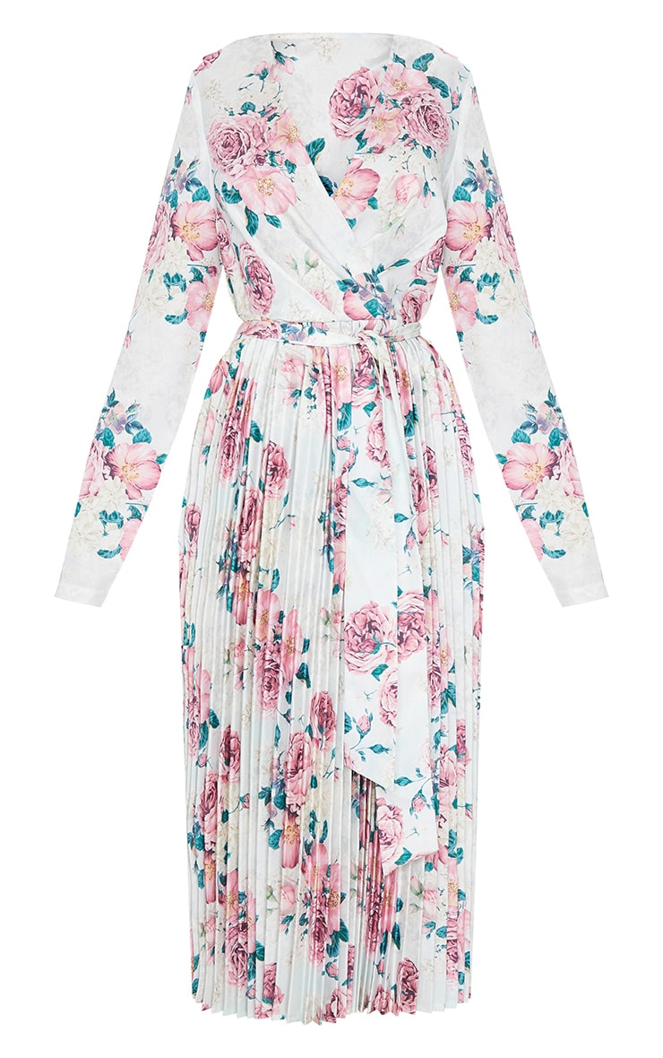 White Floral Print Long Sleeve Pleated Midi Dress 5