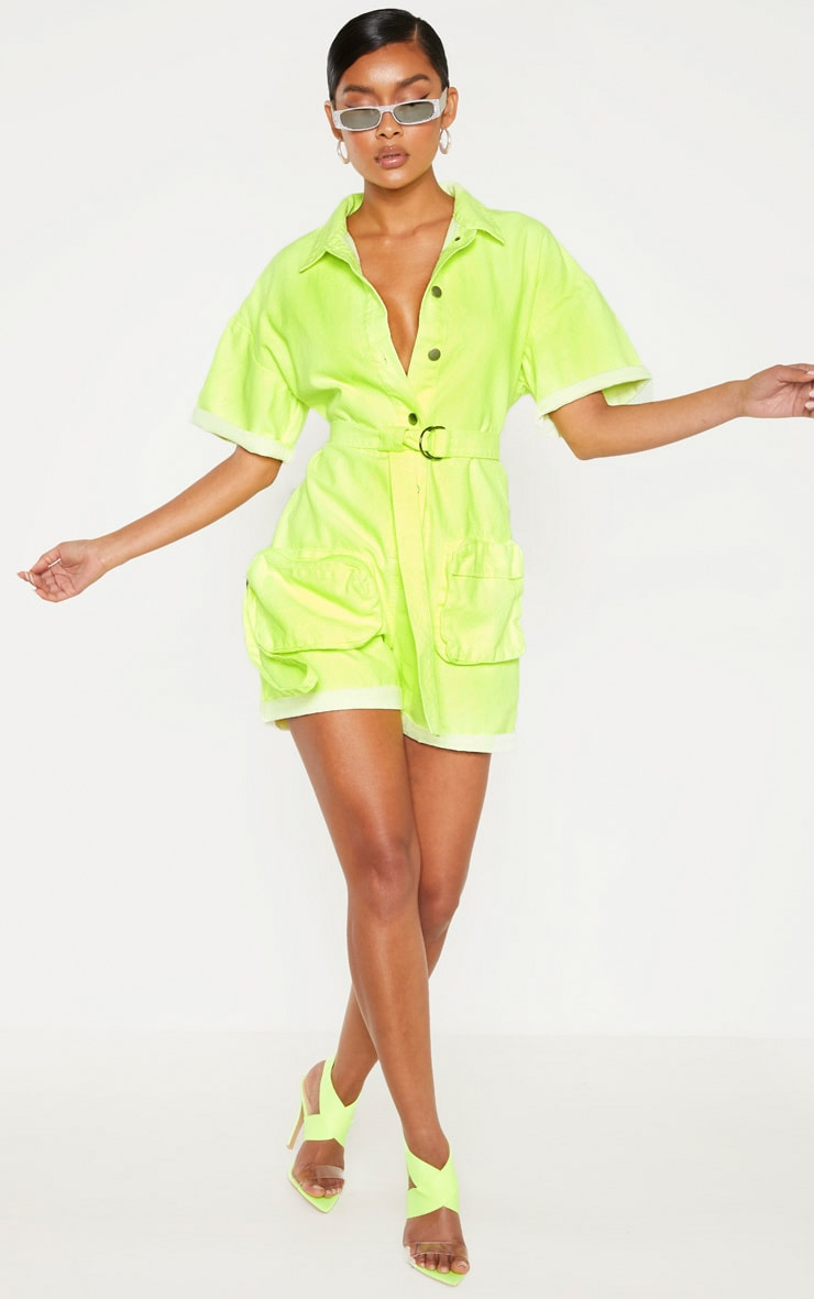 Neon Lime Romper With Pencil Pockets  4
