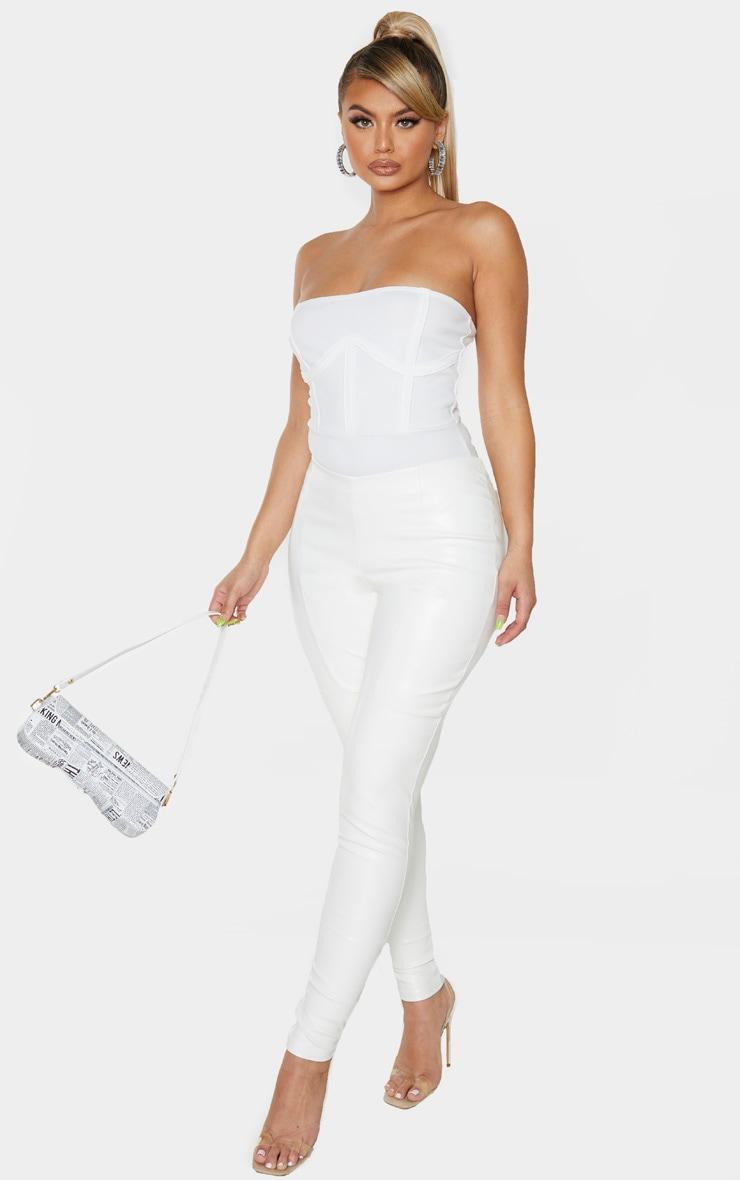 White Crepe Structured Underbust Bandeau Bodysuit 5