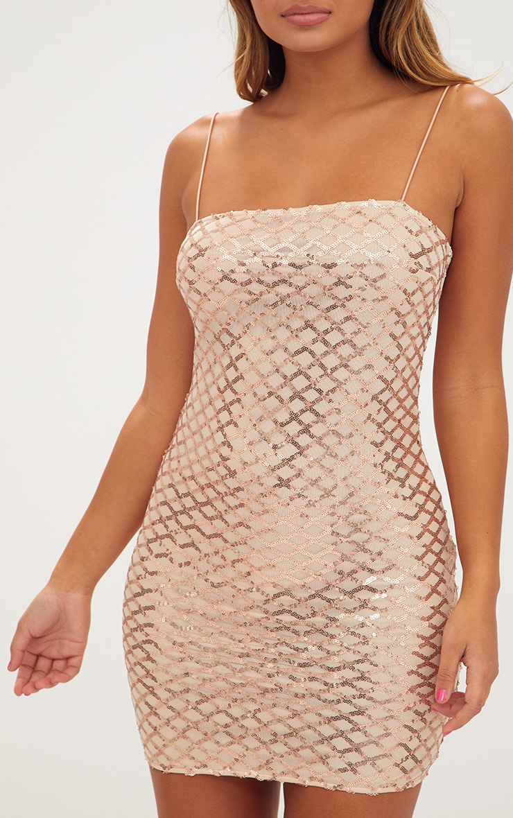 Rose Gold Strappy Sequin Straight Neck Bodycon Dress 5