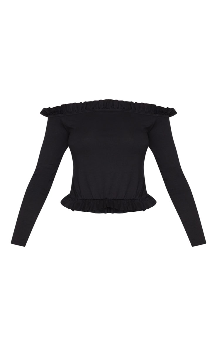 Black Bardot Frill Jersey Long Sleeve Top 3