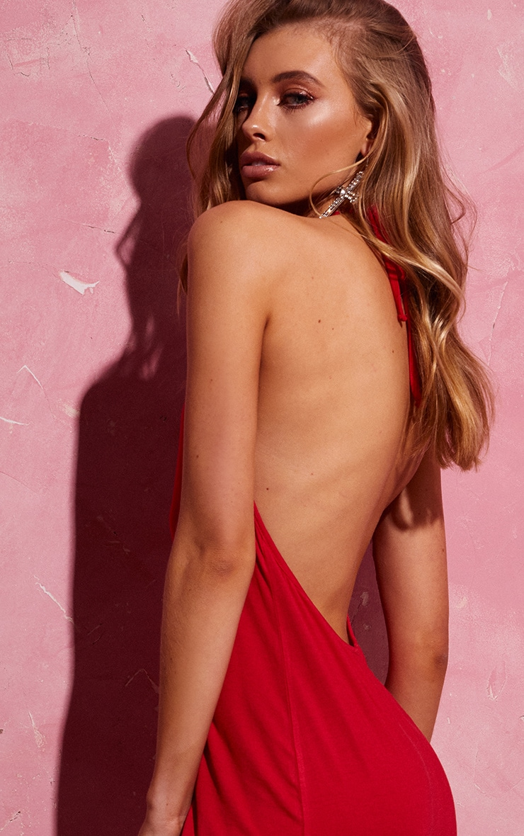 Red Backless Strappy Midi Dress 4