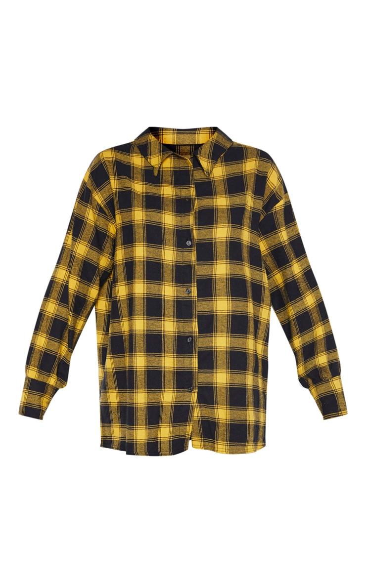 Yellow Checked Oversized Shirt 3