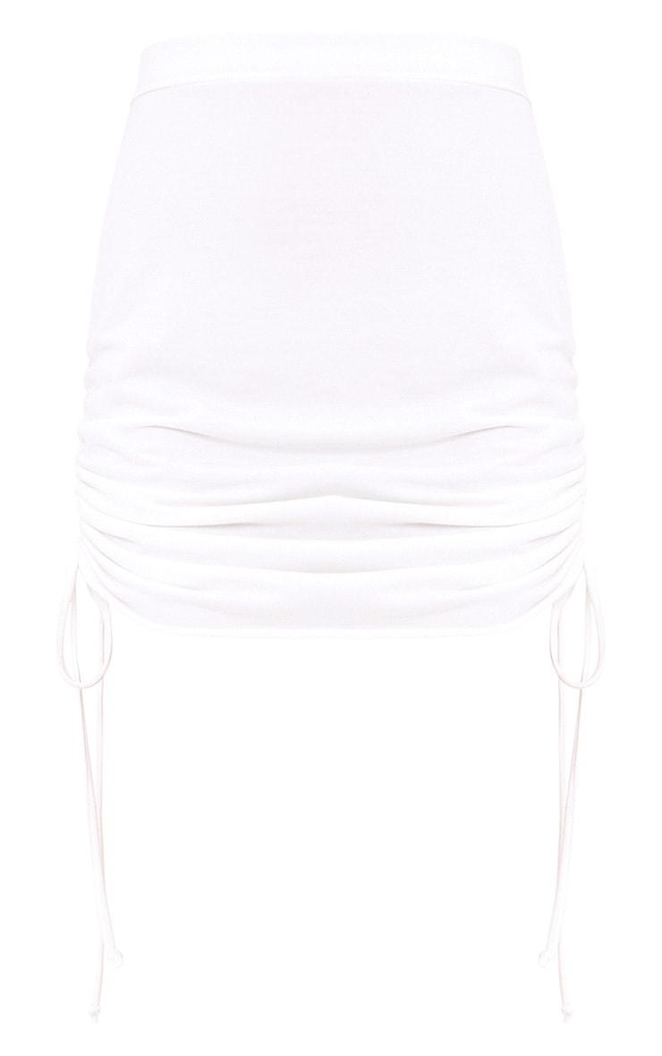 Achala Cream Side Ruched Sweat Mini Skirt  3