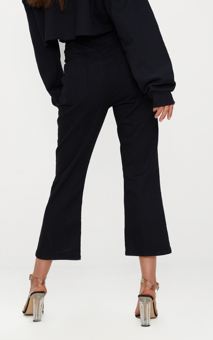 Black Centre Pleat Detail  Cropped Jeans 3