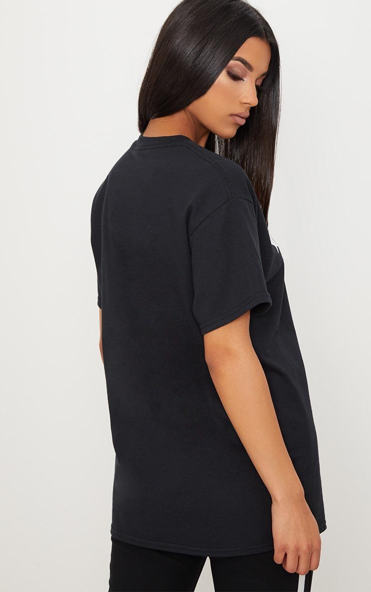 Black Gemini Star Sign Slogan Oversized T Shirt  2