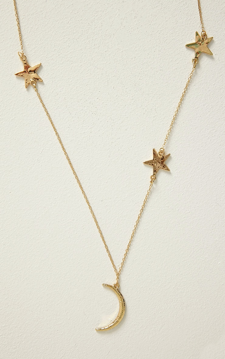 Cadie Gold Moon & Stars Necklace 3