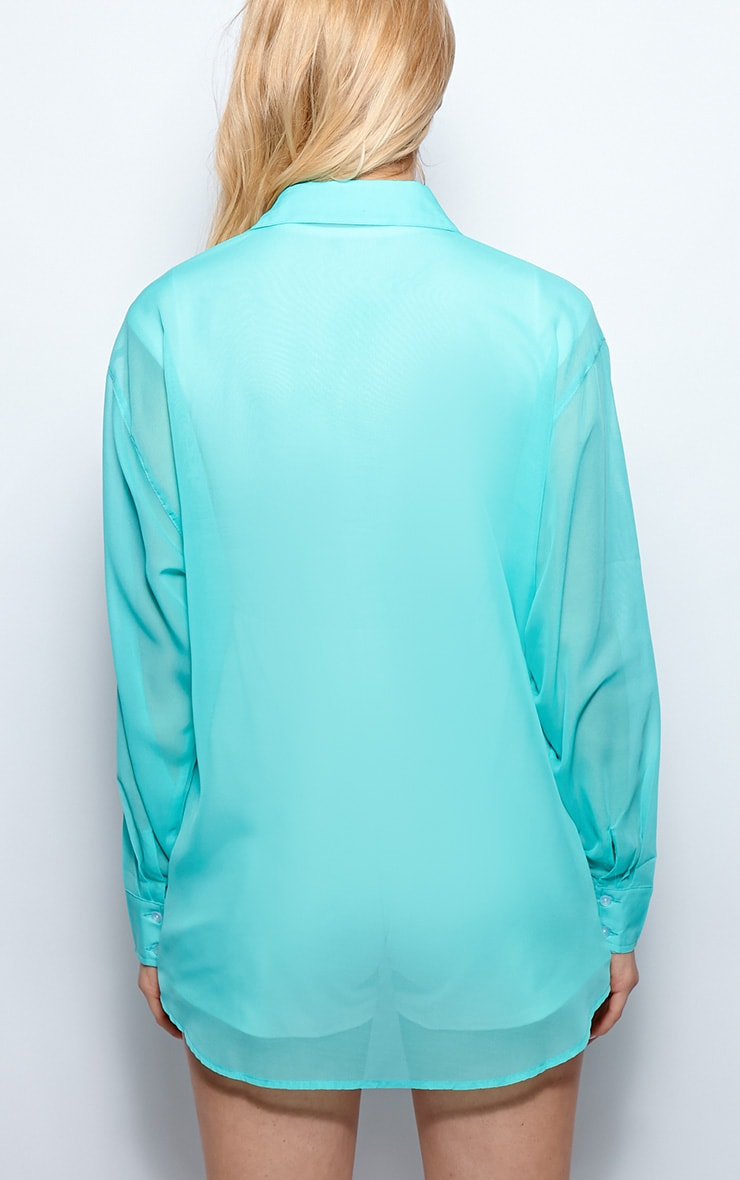 Esme Turquoise Sheer Oversized Shirt 3