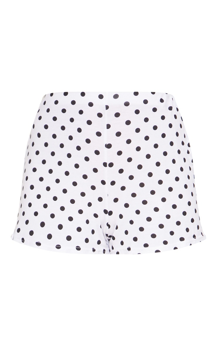 White Polkadot Jersey Flared Sleeve Tie Crop Top 3