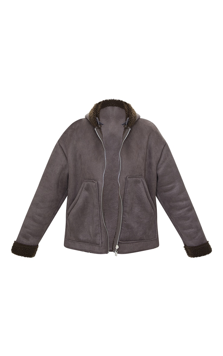 Charcoal Faux Suede Borg Lined Hooded Jacket 5