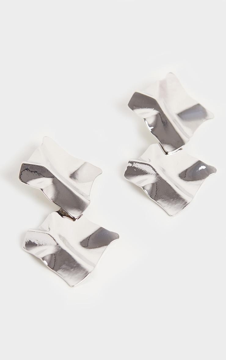 Silver Geo Textured Double Drop Earrings 3