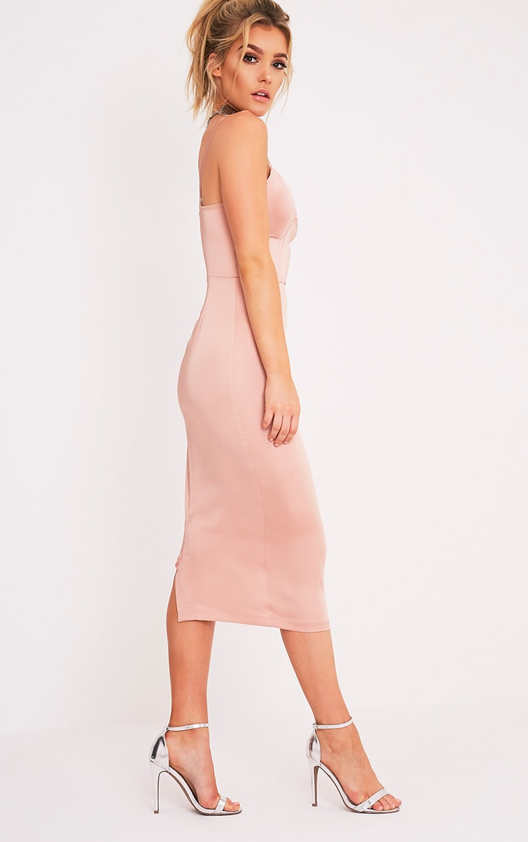 Aisha Nude Satin Panel Midi Dress 5