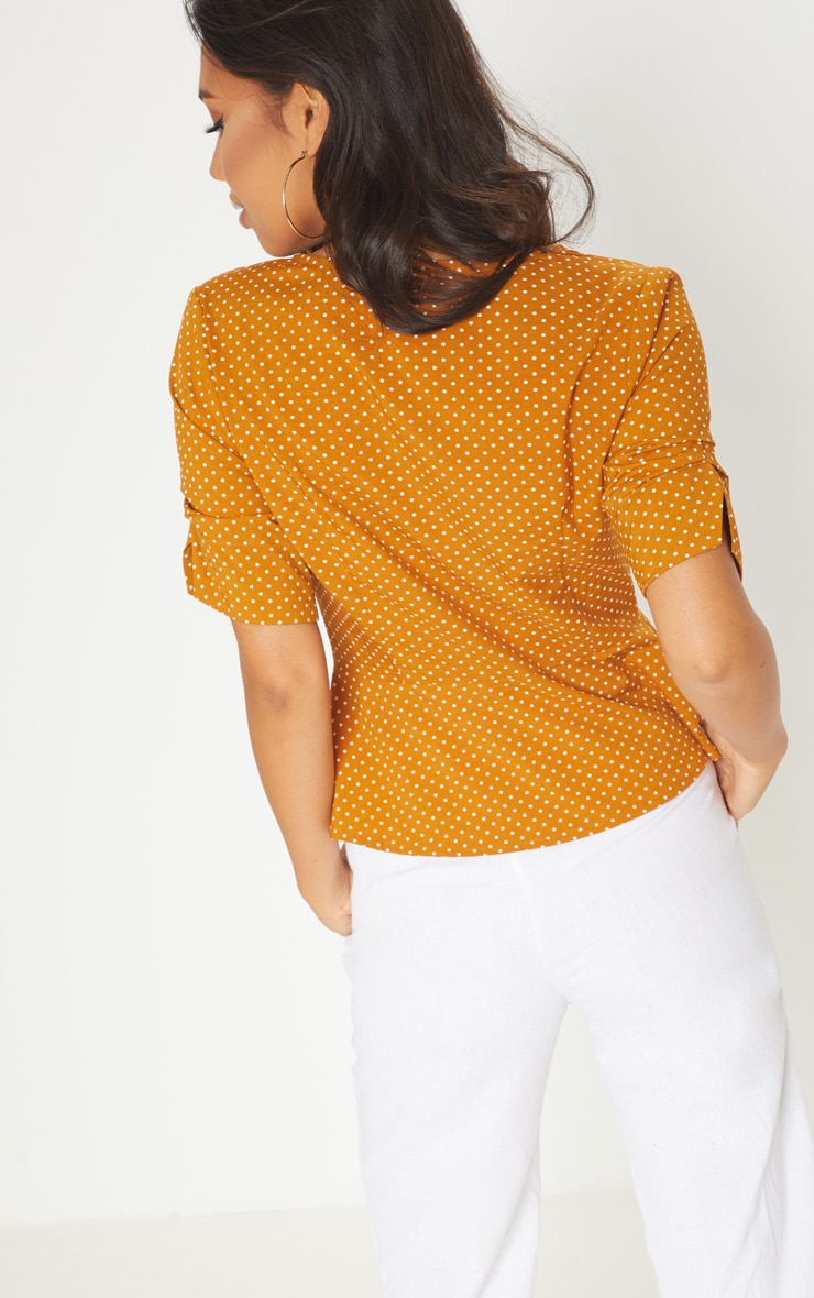 Mustard Polka Dot Button Front Blouse 2