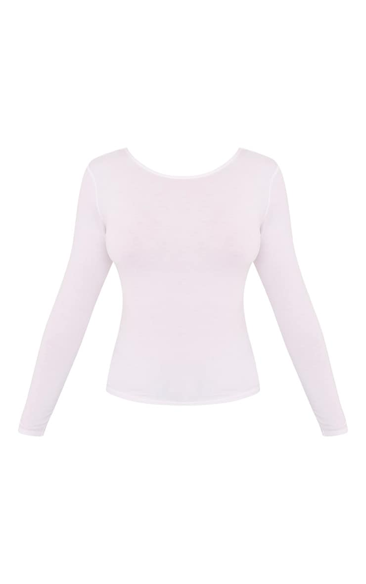 Basic White Scoop Neck Longsleeve Top 3