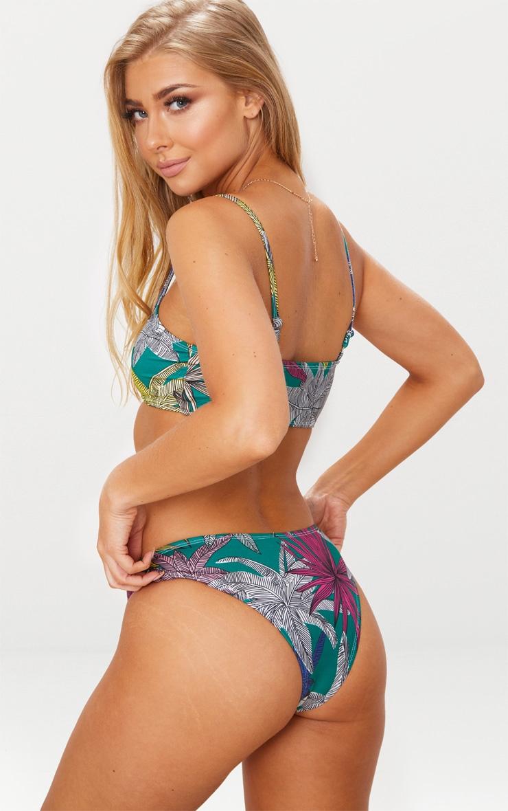 Green Multi Leaf Low Scoop Neck Bikini Top 2