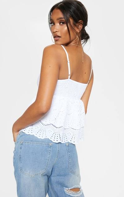 White Broderie Anglaise Frill Hem Cami Top