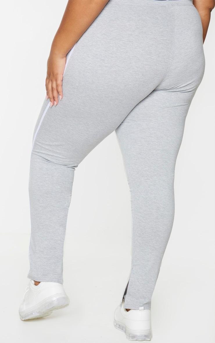 PLT Plus - Pantalon gris à bandes sport sur le côté et détail fendu 2