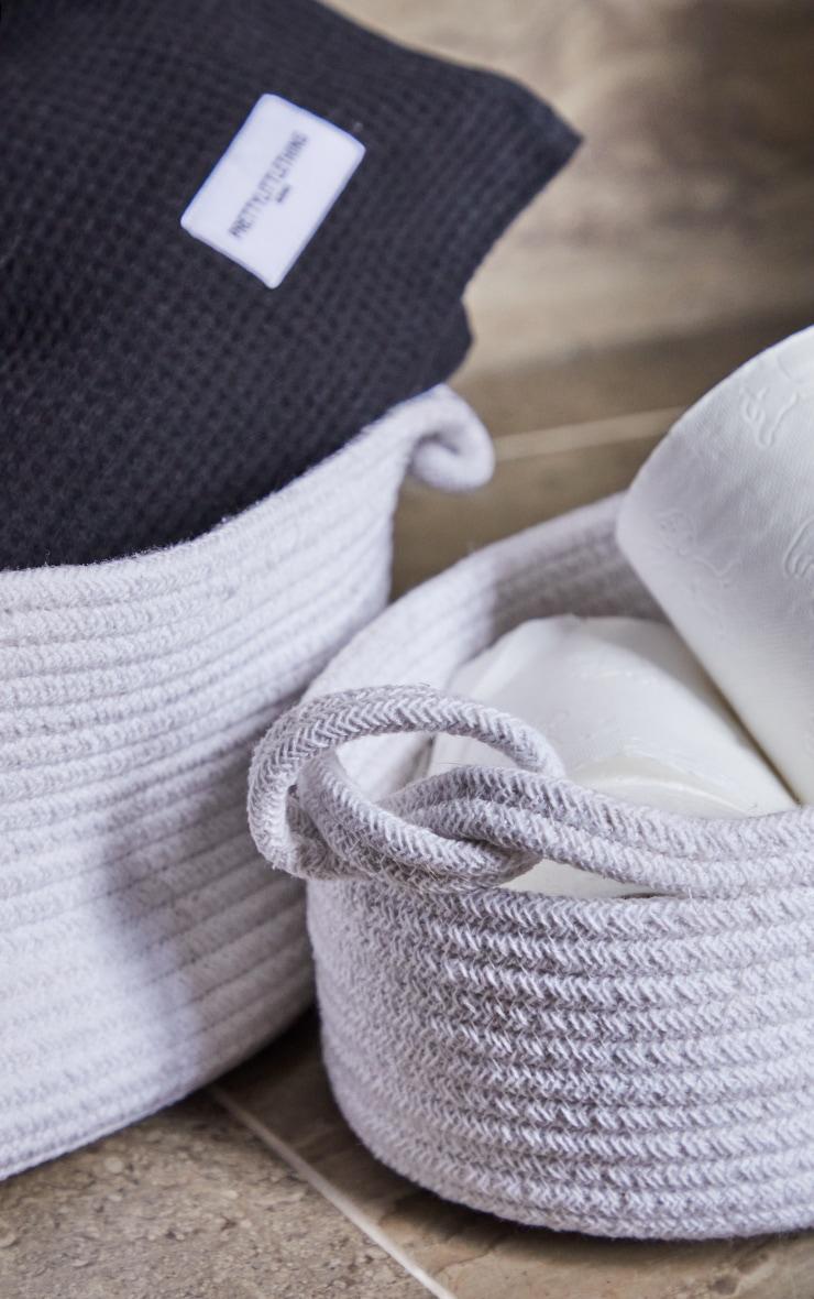 White Medium Cotton Rope Storage Basket 2