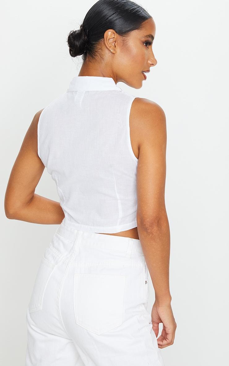 Chemise courte sans manches froncée en coton blanc 2