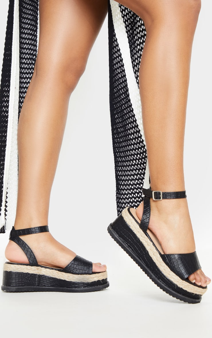 Black Croc Flatform Sandal 1